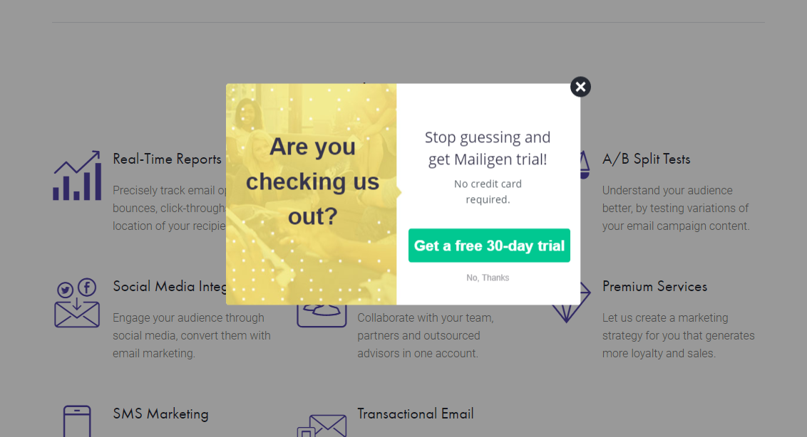 An exit popup on Mailigen featuring an unexpected question