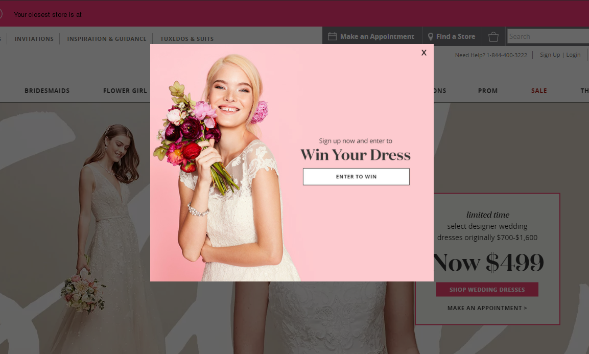 A sweepstake on David's Bridal offering to win a bridal dress