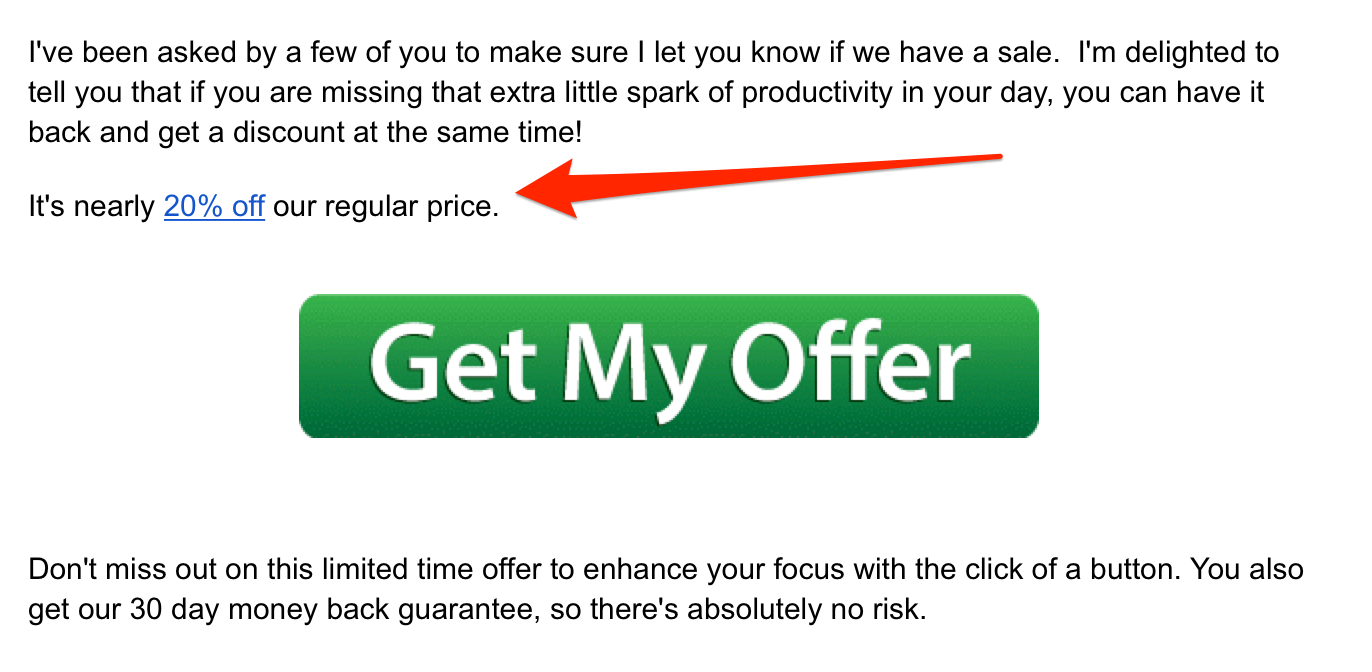 an email featuring a discount