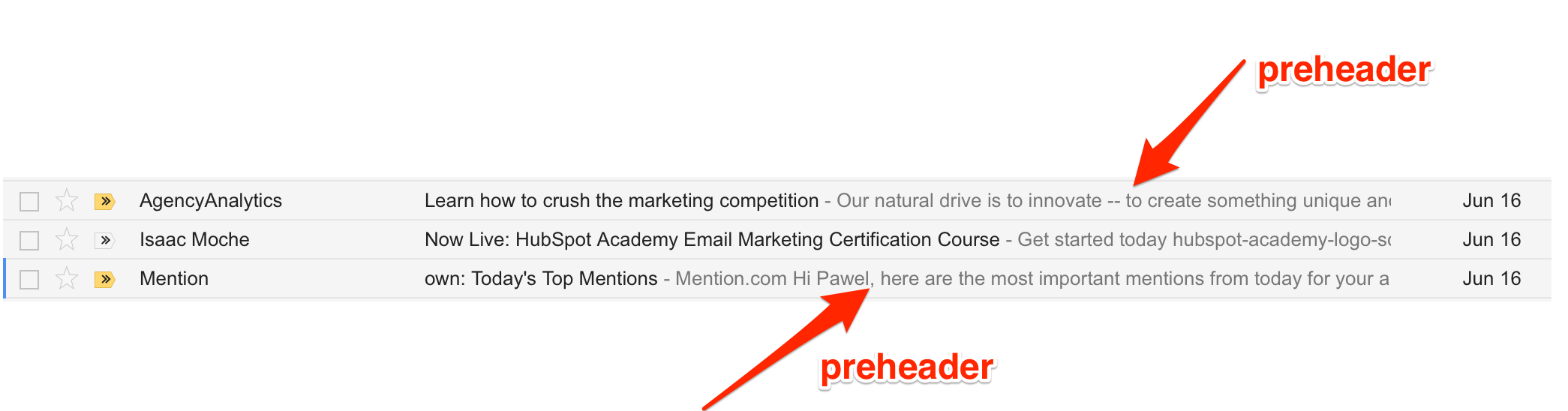 email preheaders examples