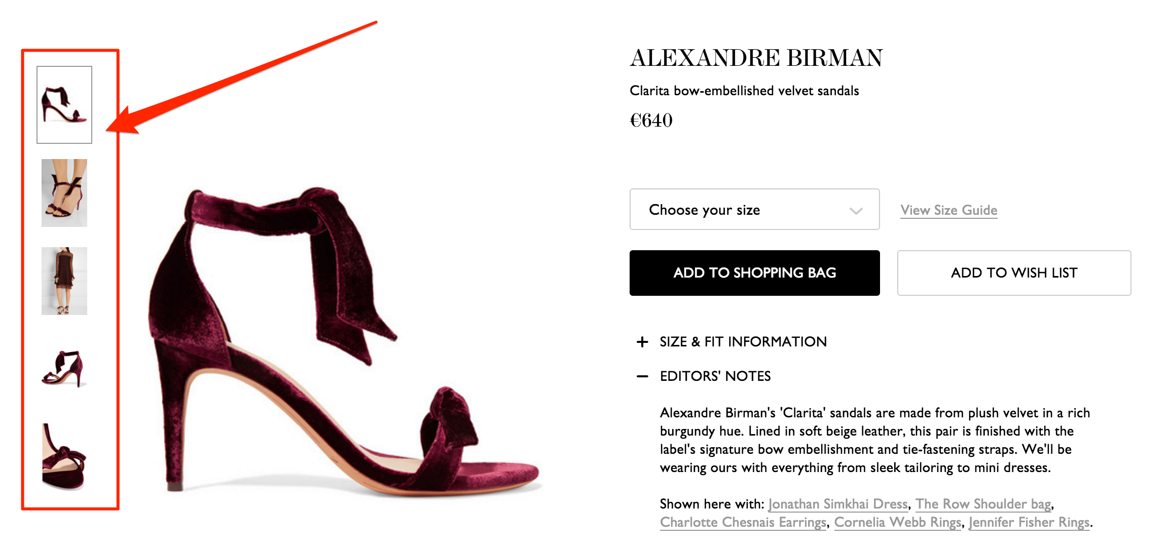 An engaging product page on Netaporter.com