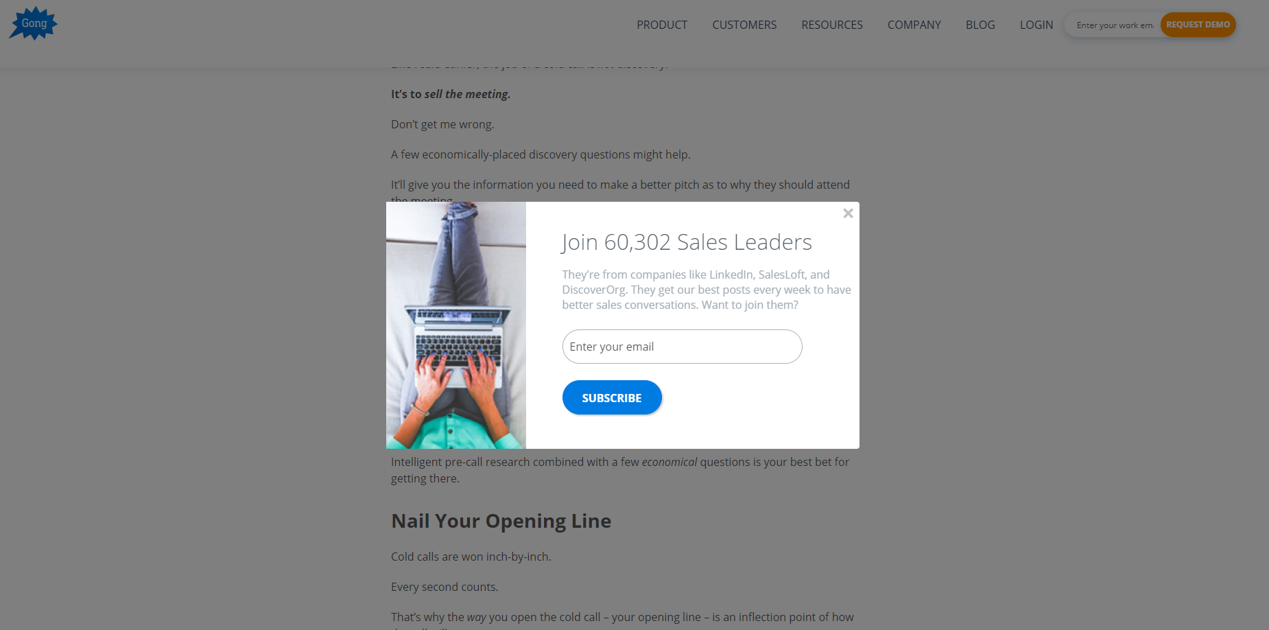 A popup inviting to join 60,000 sales leaders