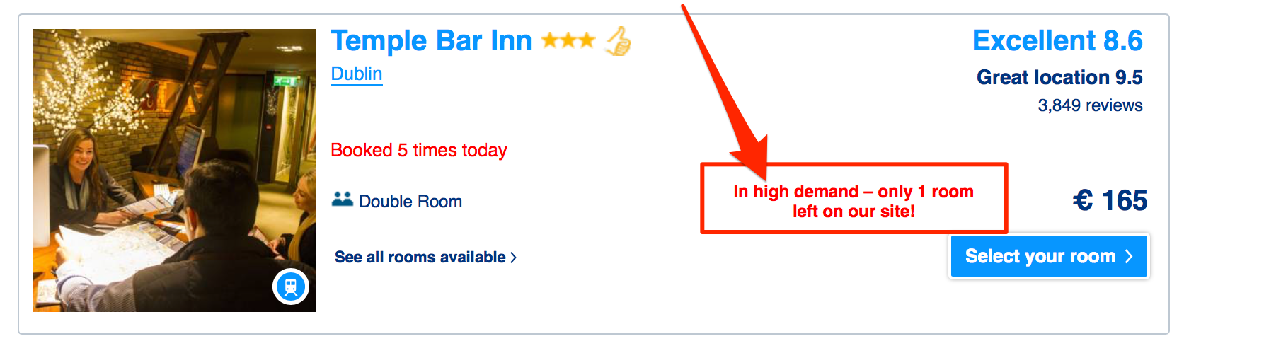 A notification on booking.com insisting on the high demand
