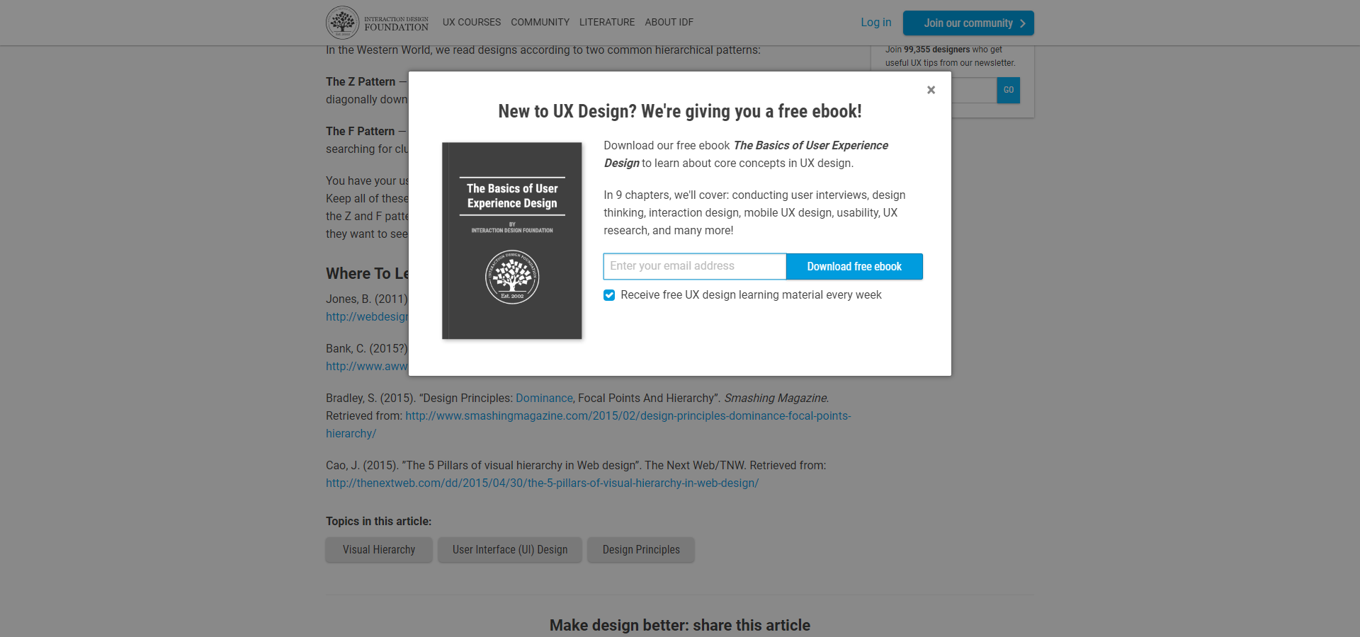A popup offering to receive a free ebook