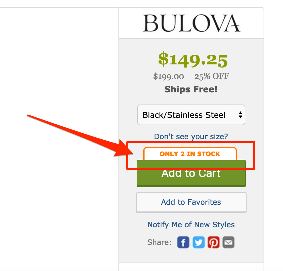 A product page on Zappos.com insisting on the limited stock for the item viewed.