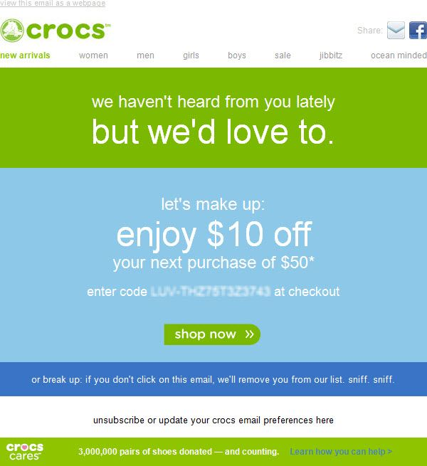 A reactivation email example from Crocs