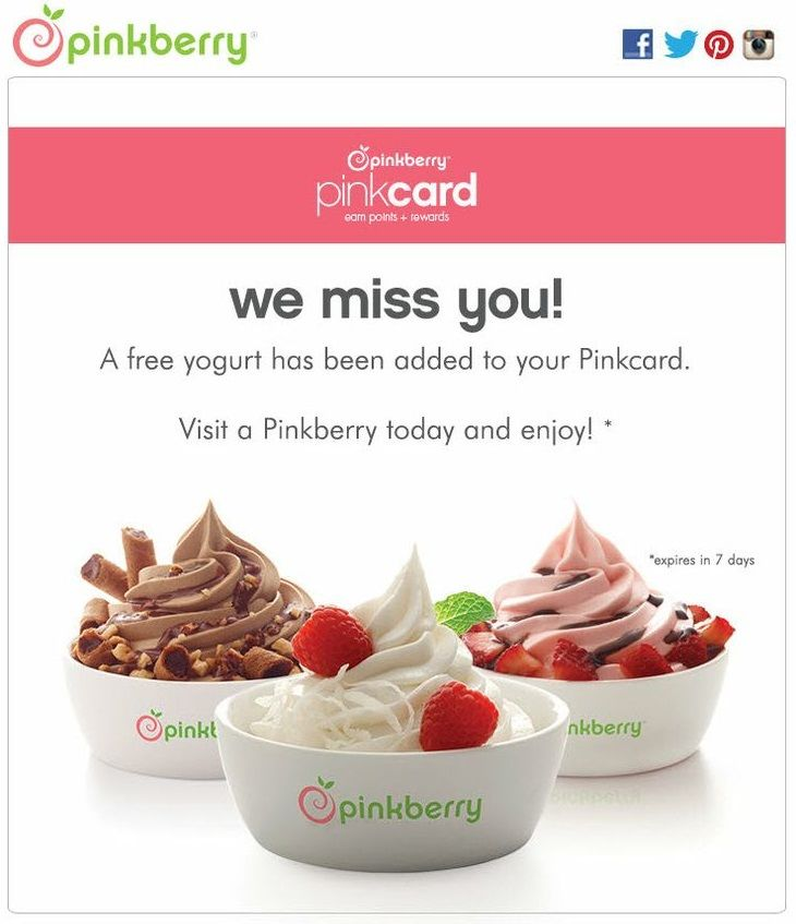 An email from Pinkberry offering a free gift