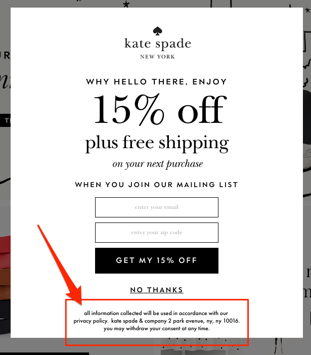 A popup on Kate Spade featuring trust signals