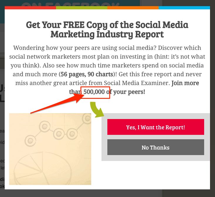 A popup including social proof