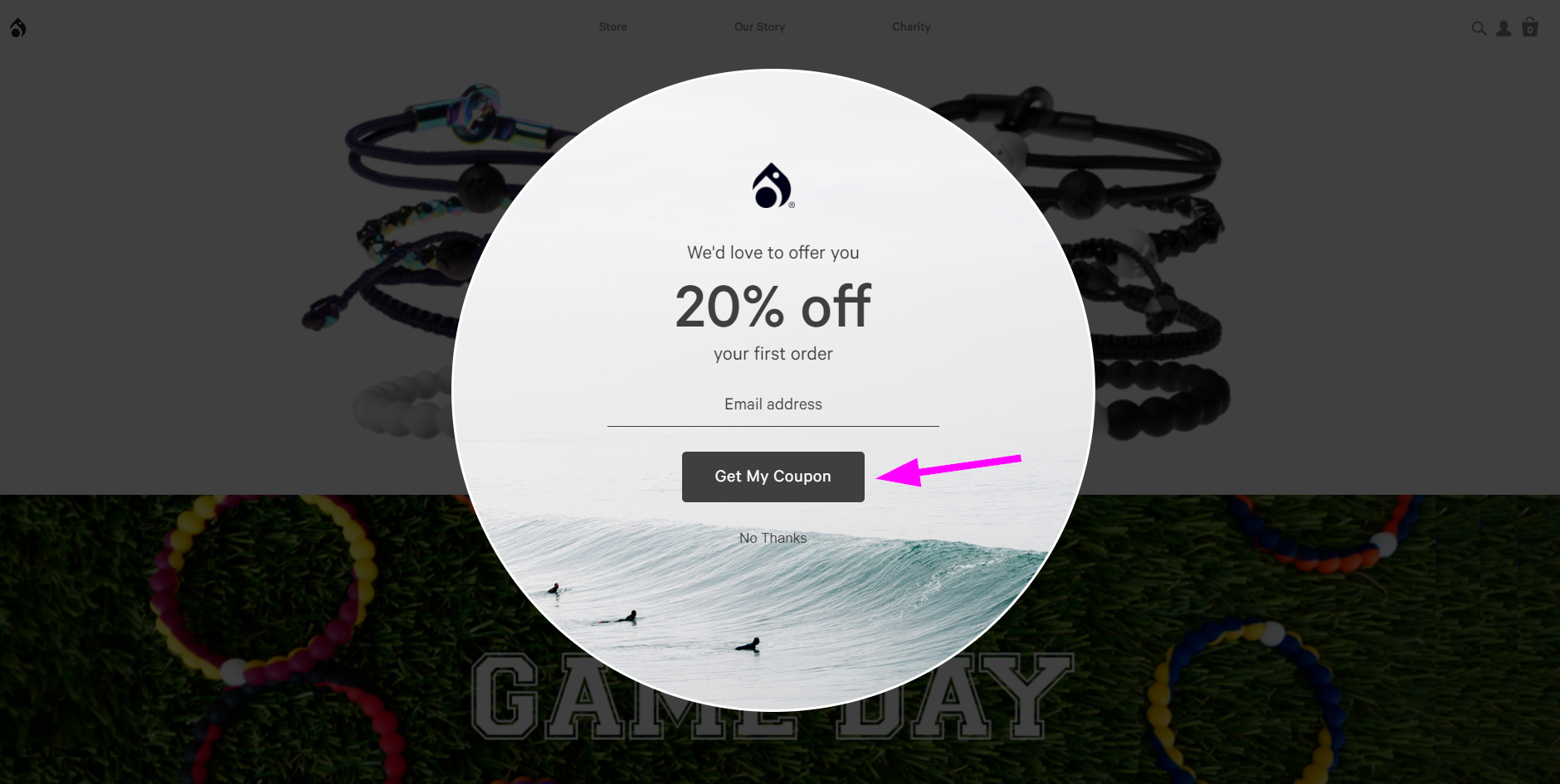 "A popup featuring a ""Get my coupon"" call-to-action"