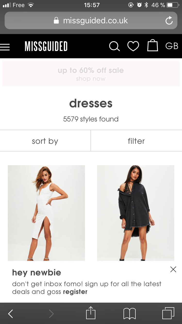 A mobile popup on missguided.co.uk targeting new visitors