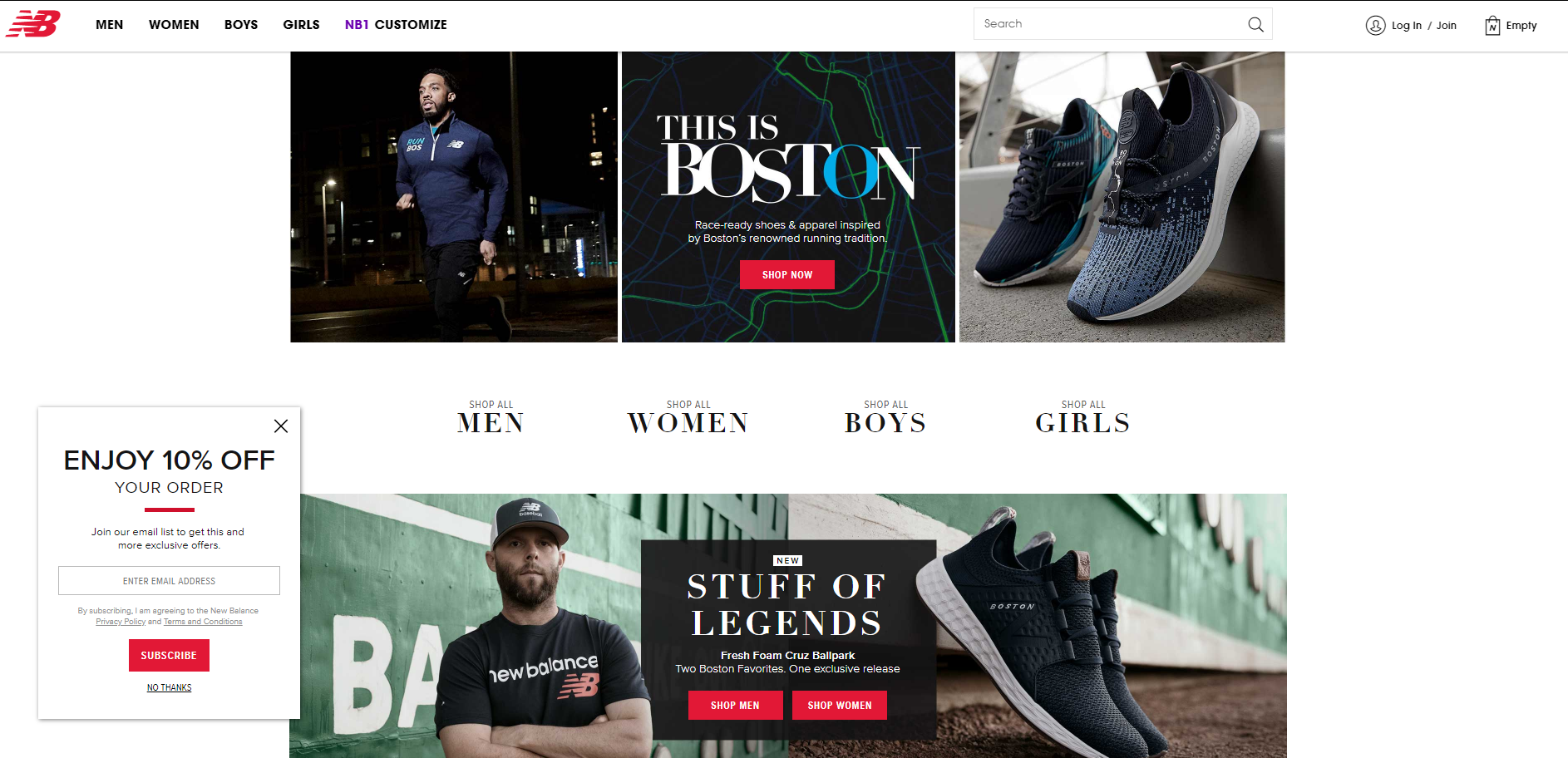 A popup on NewBalance's online store