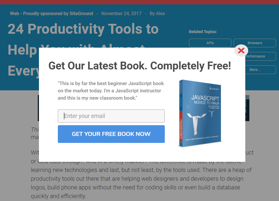A popup on sitepoint.com featuring a straightforward call-to-action