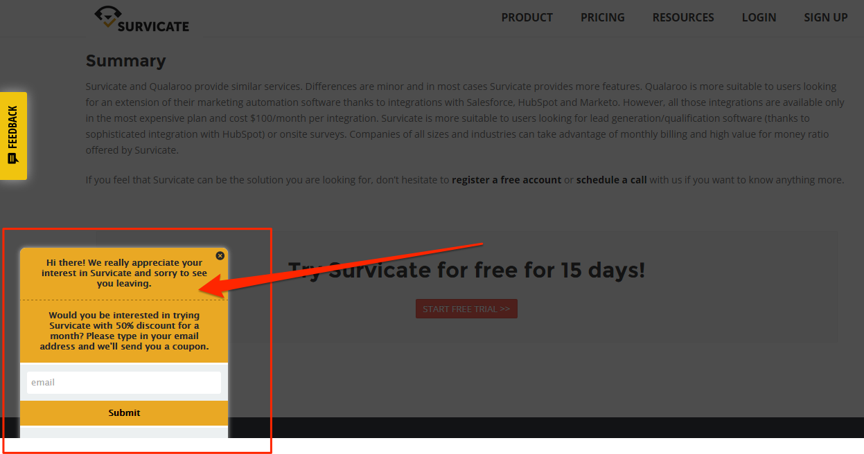 A Side Popup on Survicate's website