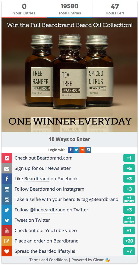 A giveaway on Beardbrand.com