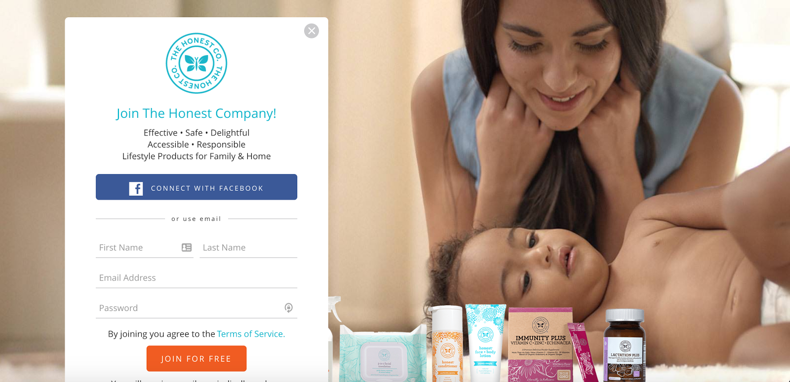 A gated page on the Honest Company's website