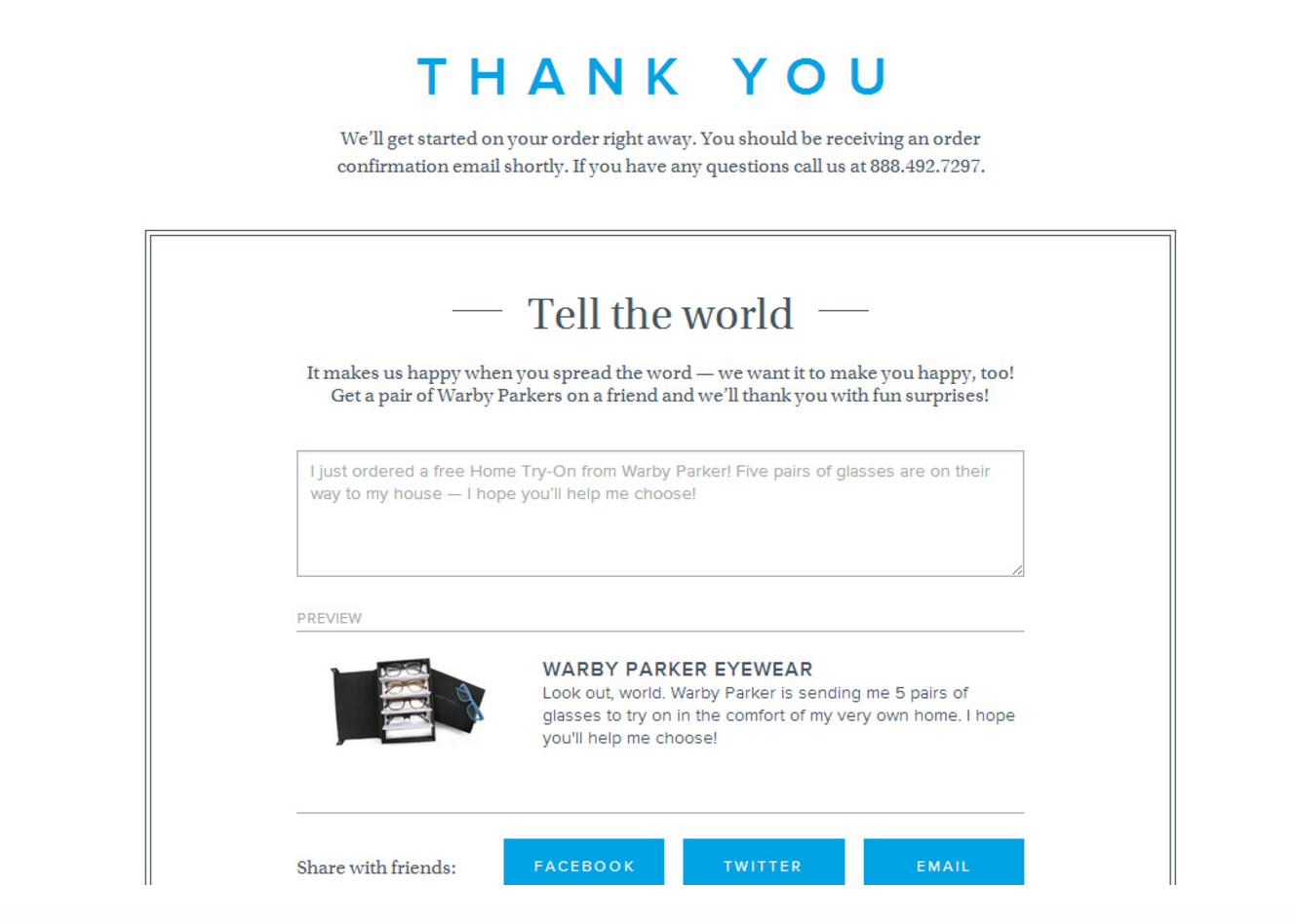 A referral email sent by Warby Parker