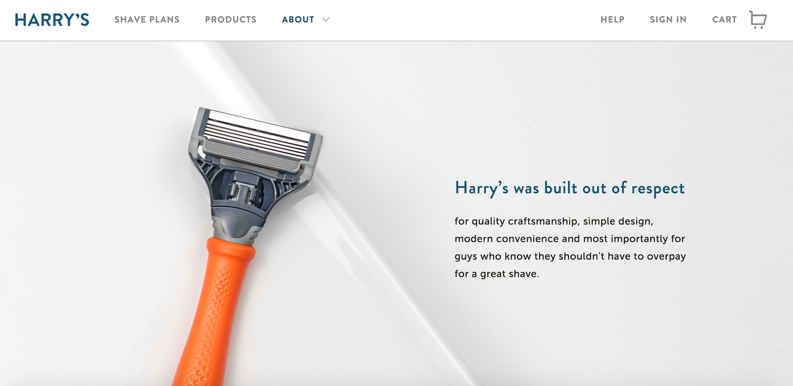 A storytelling example on harrys.com