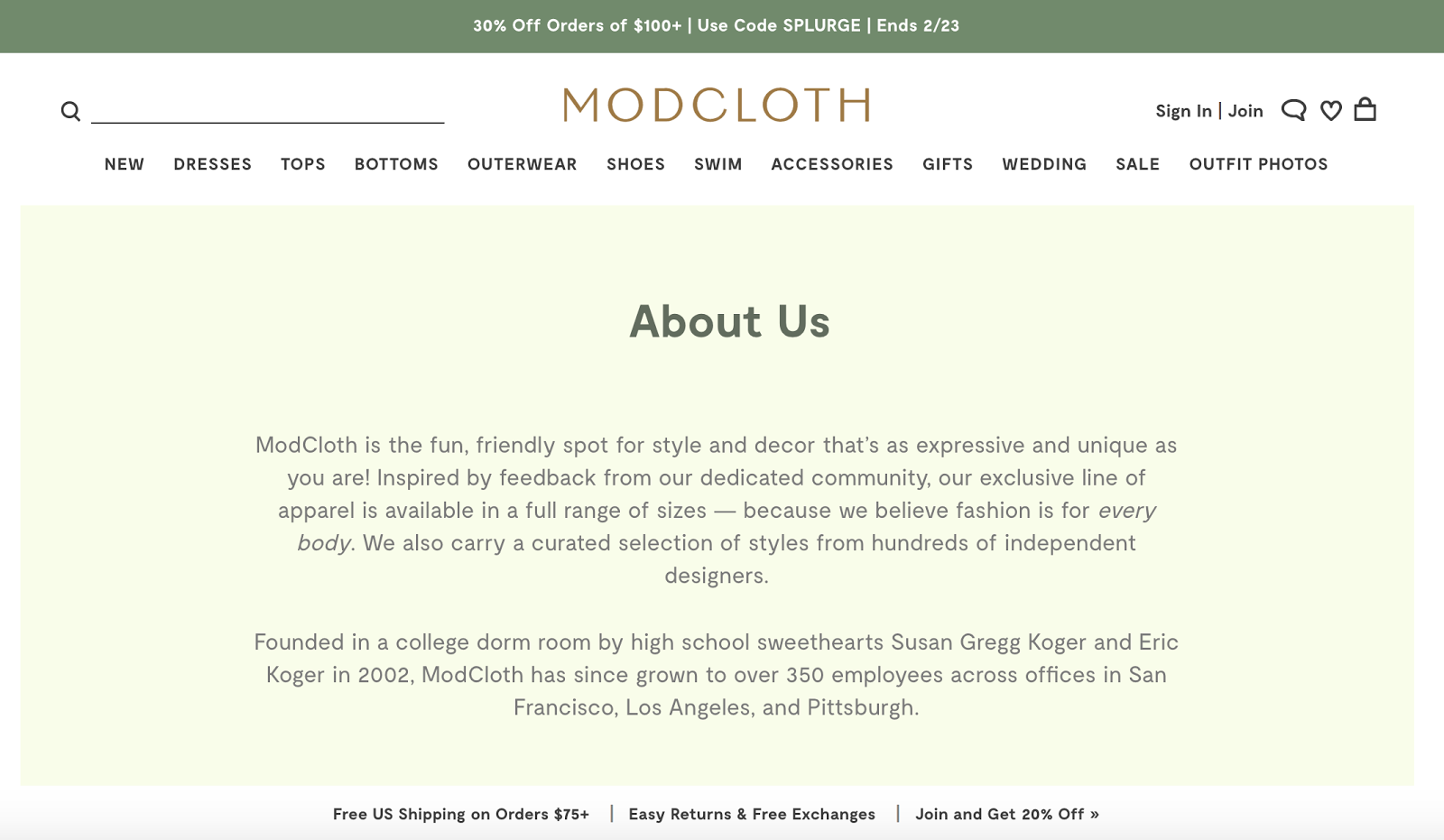 Example of brand storytelling from Modcloth