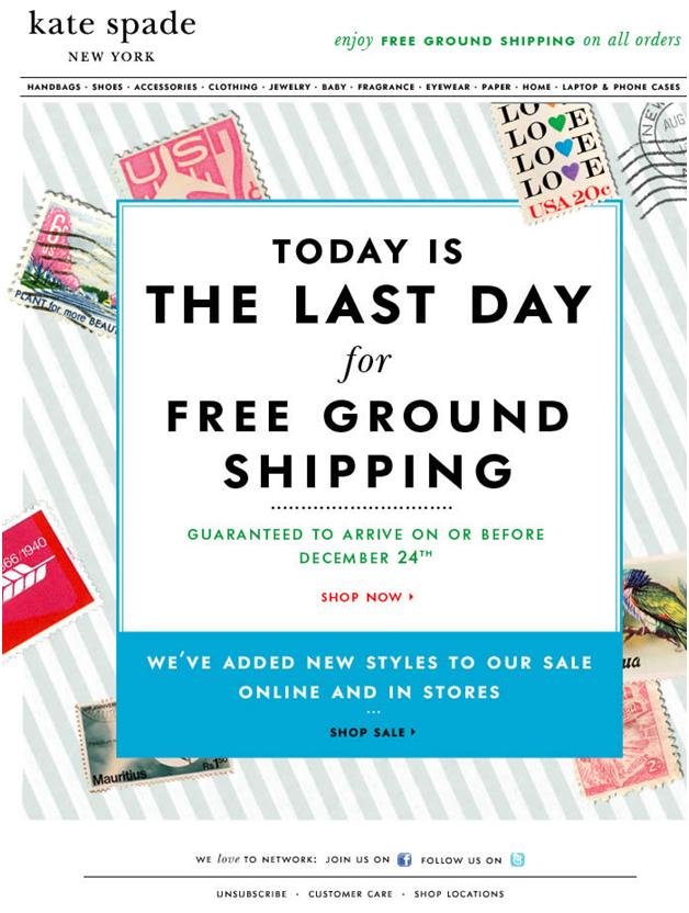 An email sent by Kate Spade
