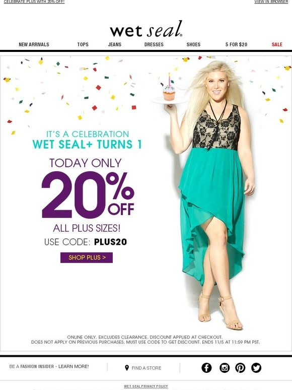 A promo email sent by Wet Seal
