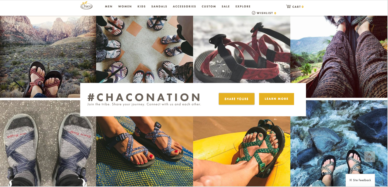 A screenshot from chacos' homepage