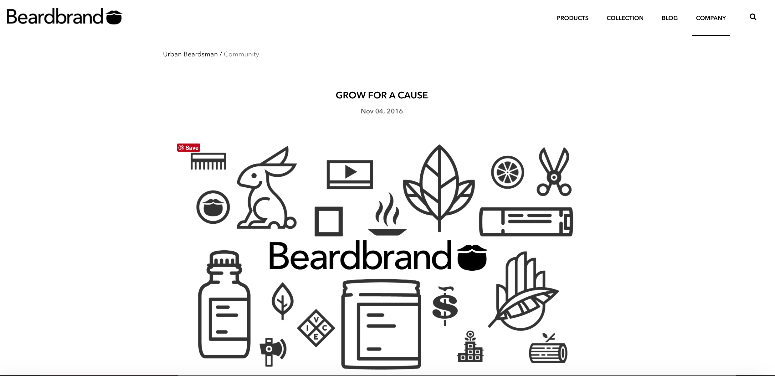A screenshot from a post blog on Beardbrand inviting to join Movember
