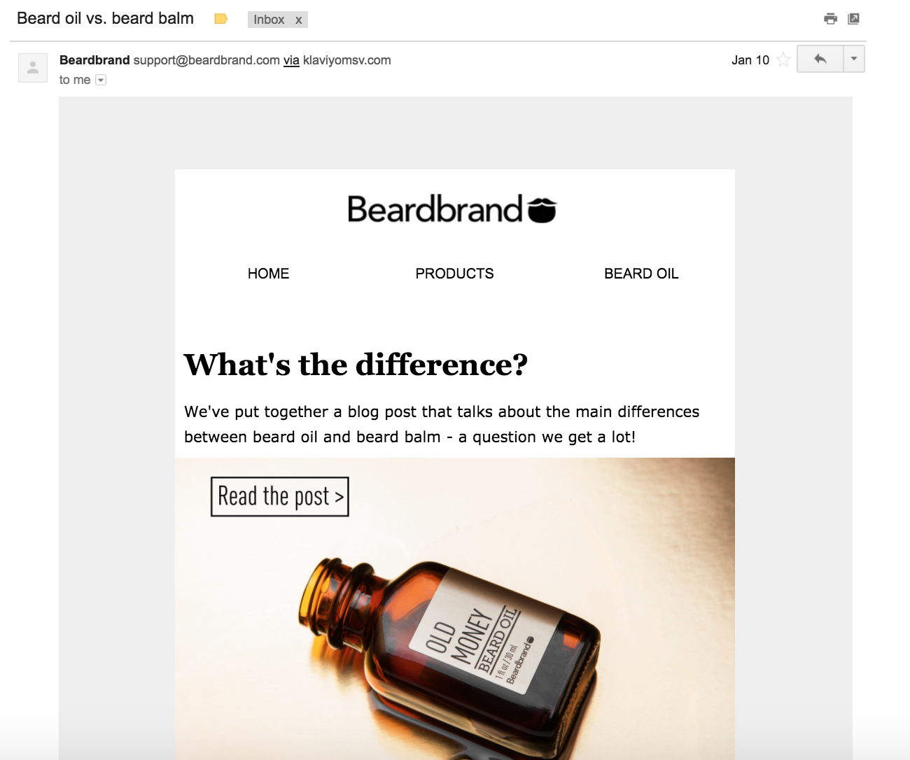 An education email sent by Beardbrand