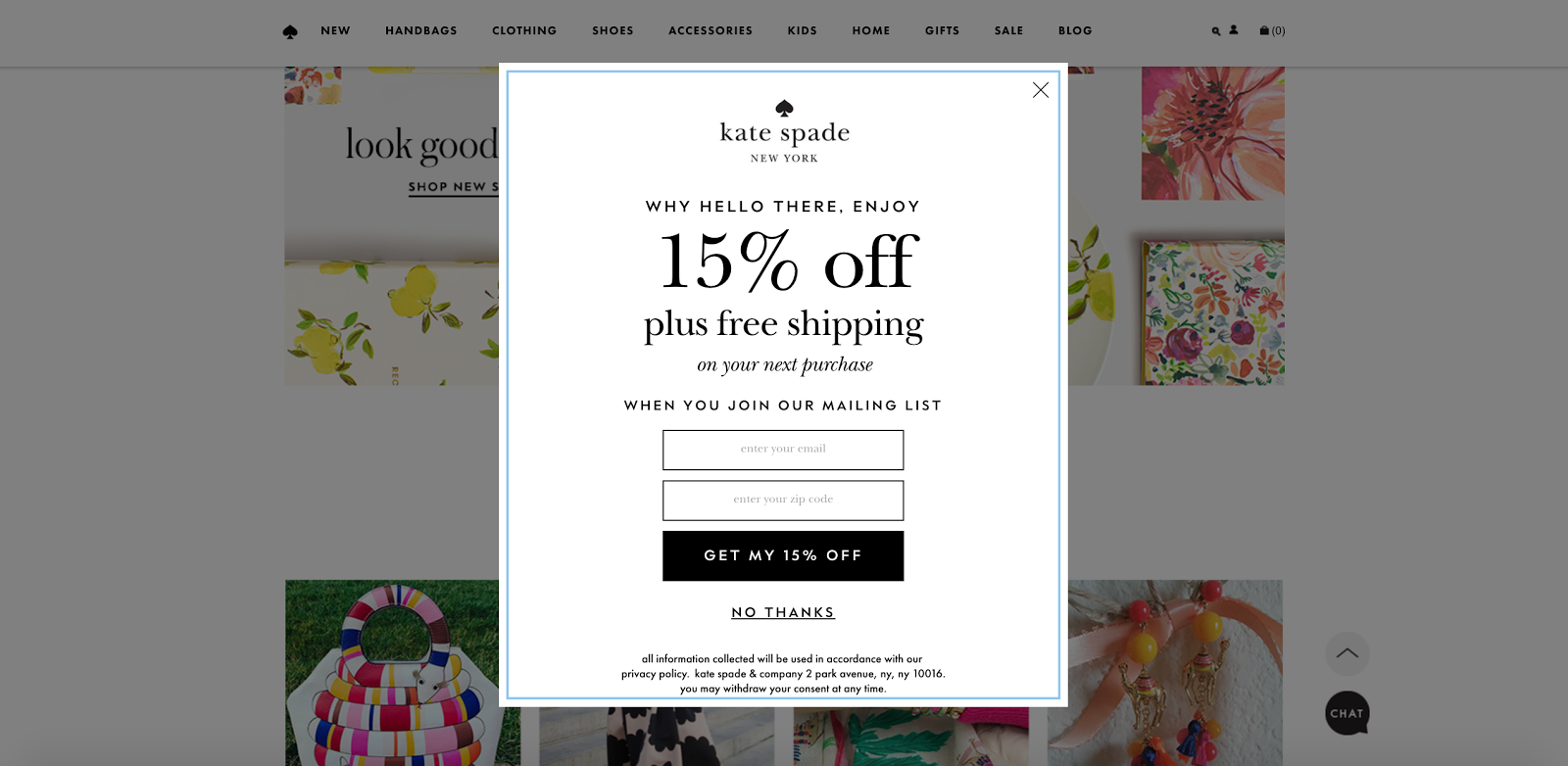 An email pop-up on Katespade.com