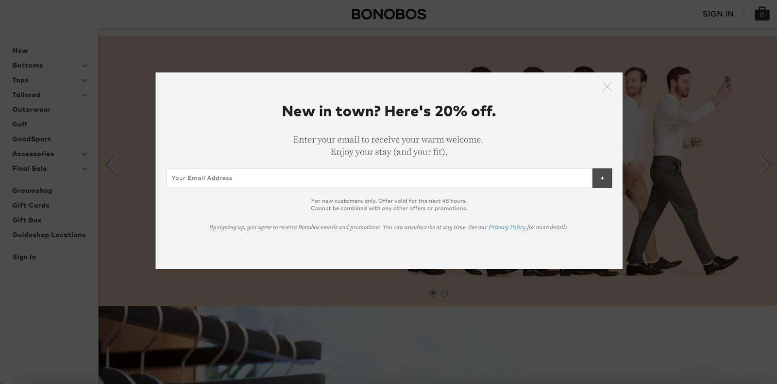 Bonobos opt-in pop-up