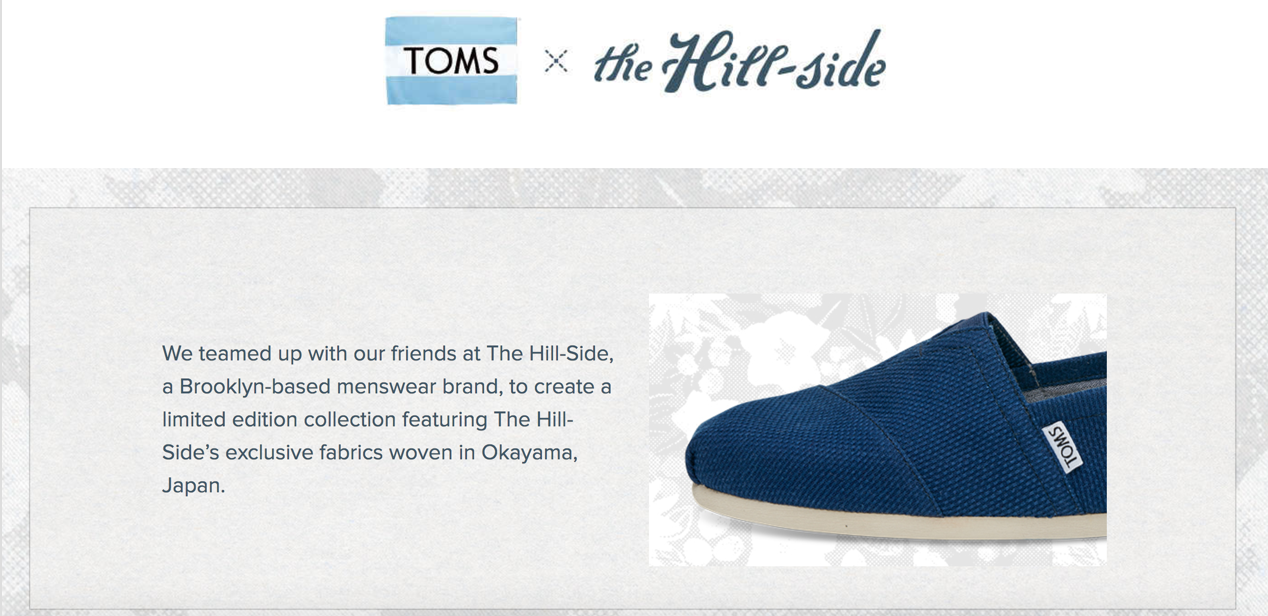 TOMS' collaboration with The Hill-Side