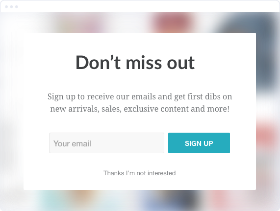 sign-up popup