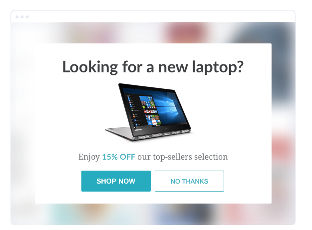 Targeted promotion popup