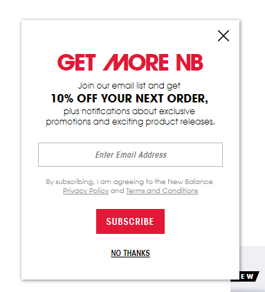 A popup offering a coupon on New Balance