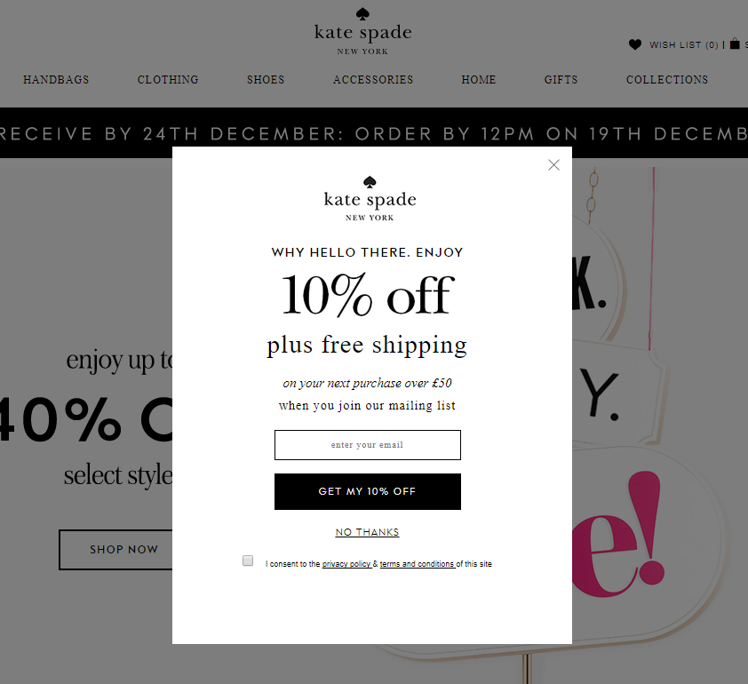 a popup offering free shipping on Kate Spade