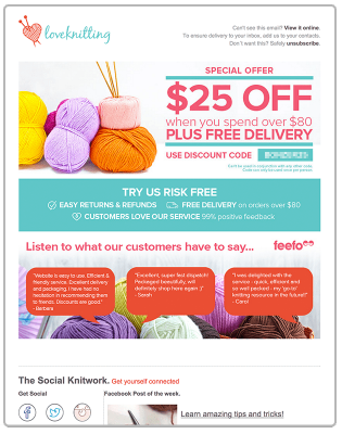 a welcome email example from loveknitting