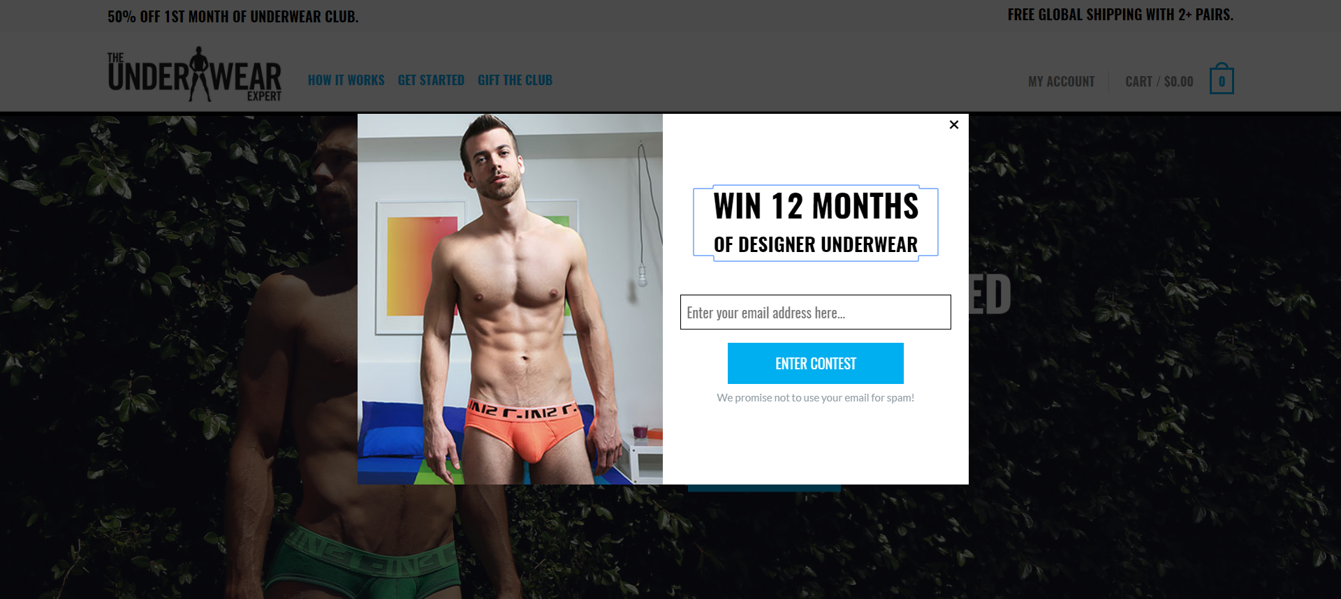 a sweepstakes popup example on a woocommerce website: underwearexpert.com