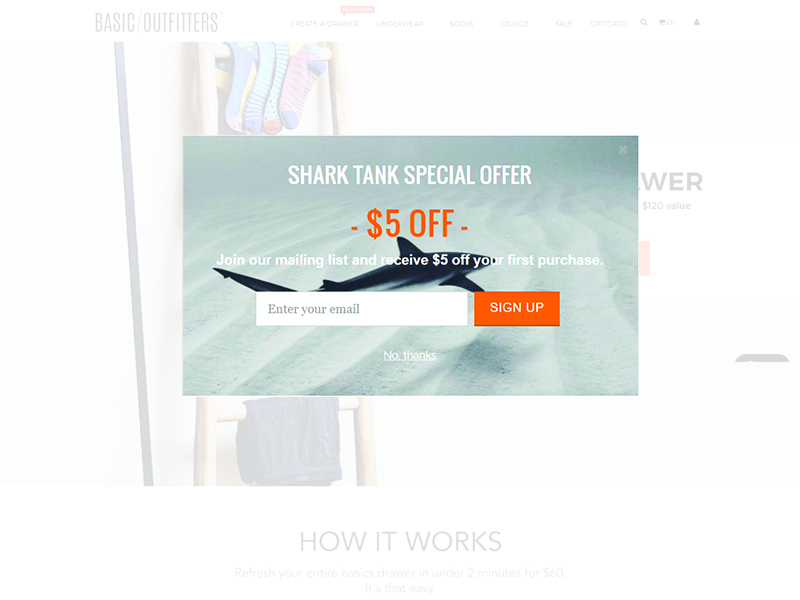 Shark Tank email popup