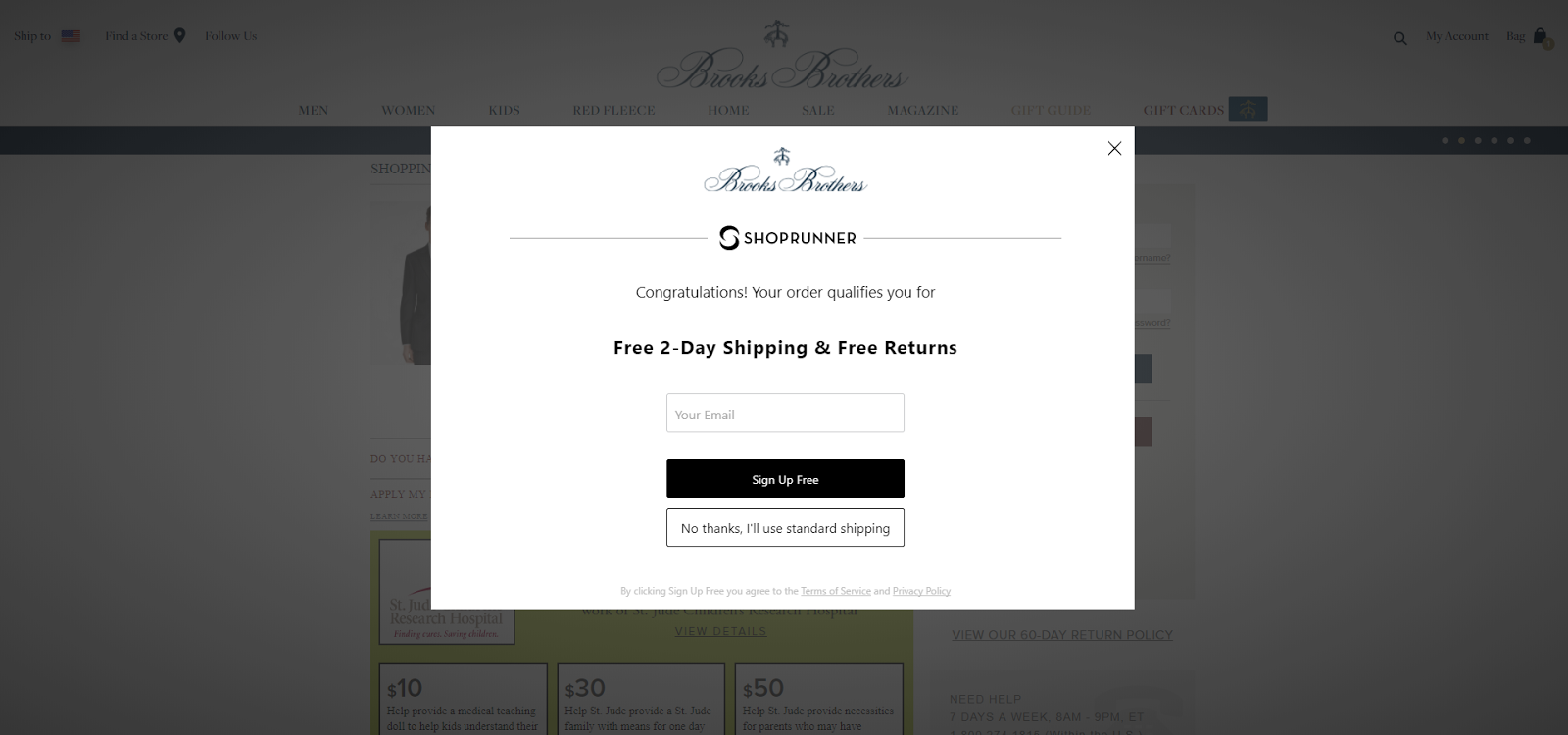 Brooks Brothers' Cart Abandonment popup