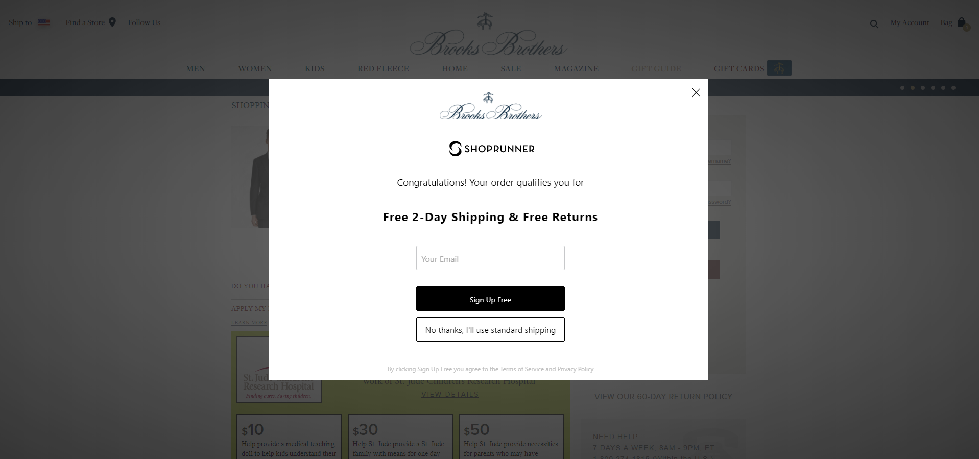 Brooks Brothers' email popup including a free shipping offer