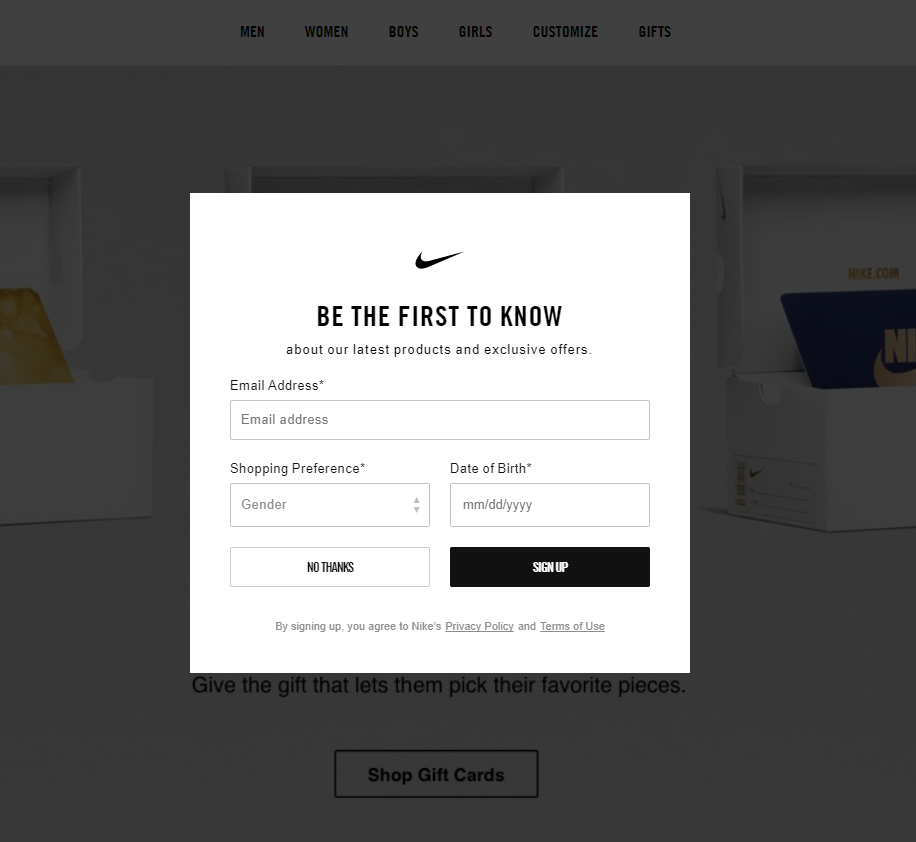 15 gorgeous pop up design examples you can copy today wisepopsnike pop up