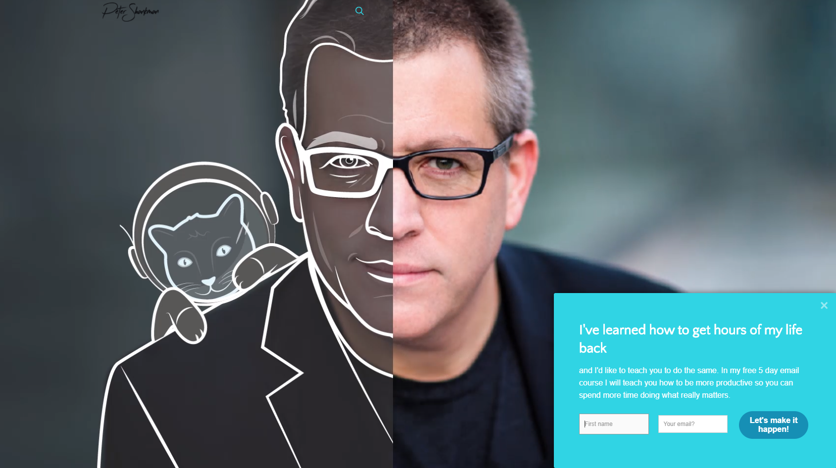 Peter Shankman's lead capture popup