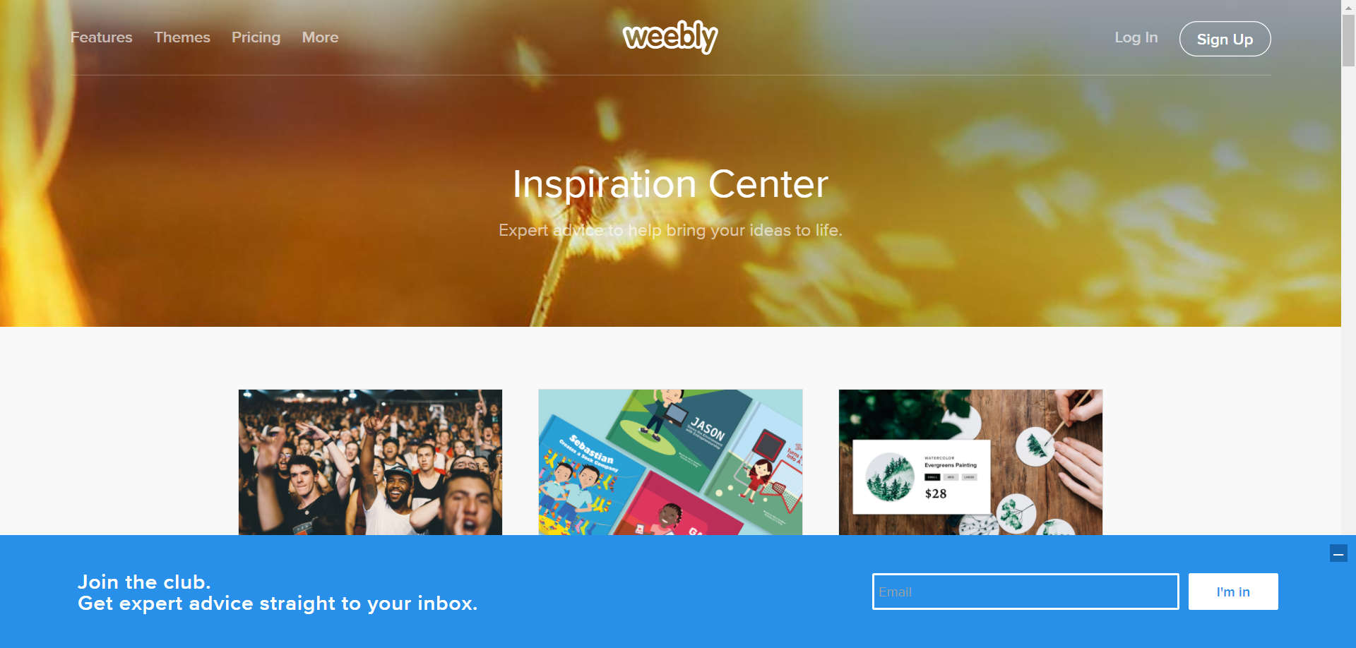 Weebly subscription bar