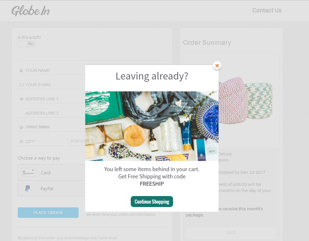 cart abandonment popup example