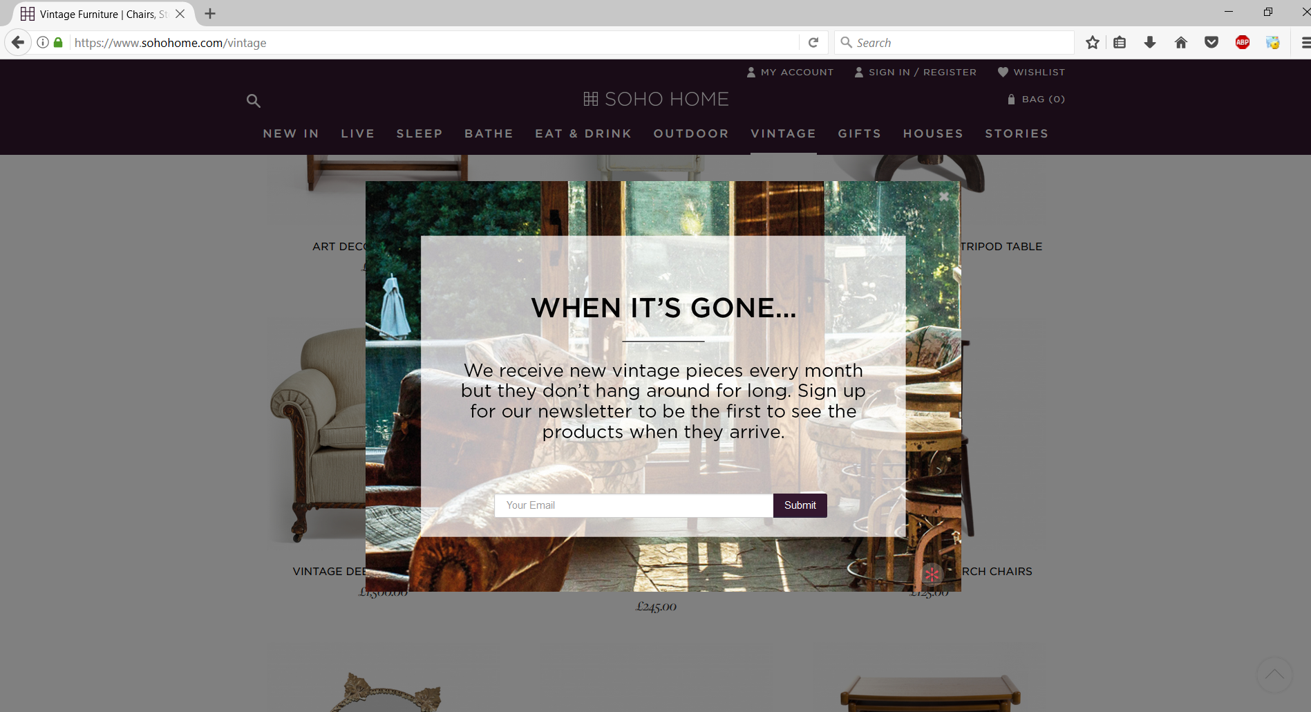 An exit popup form displayed on sohohome.com