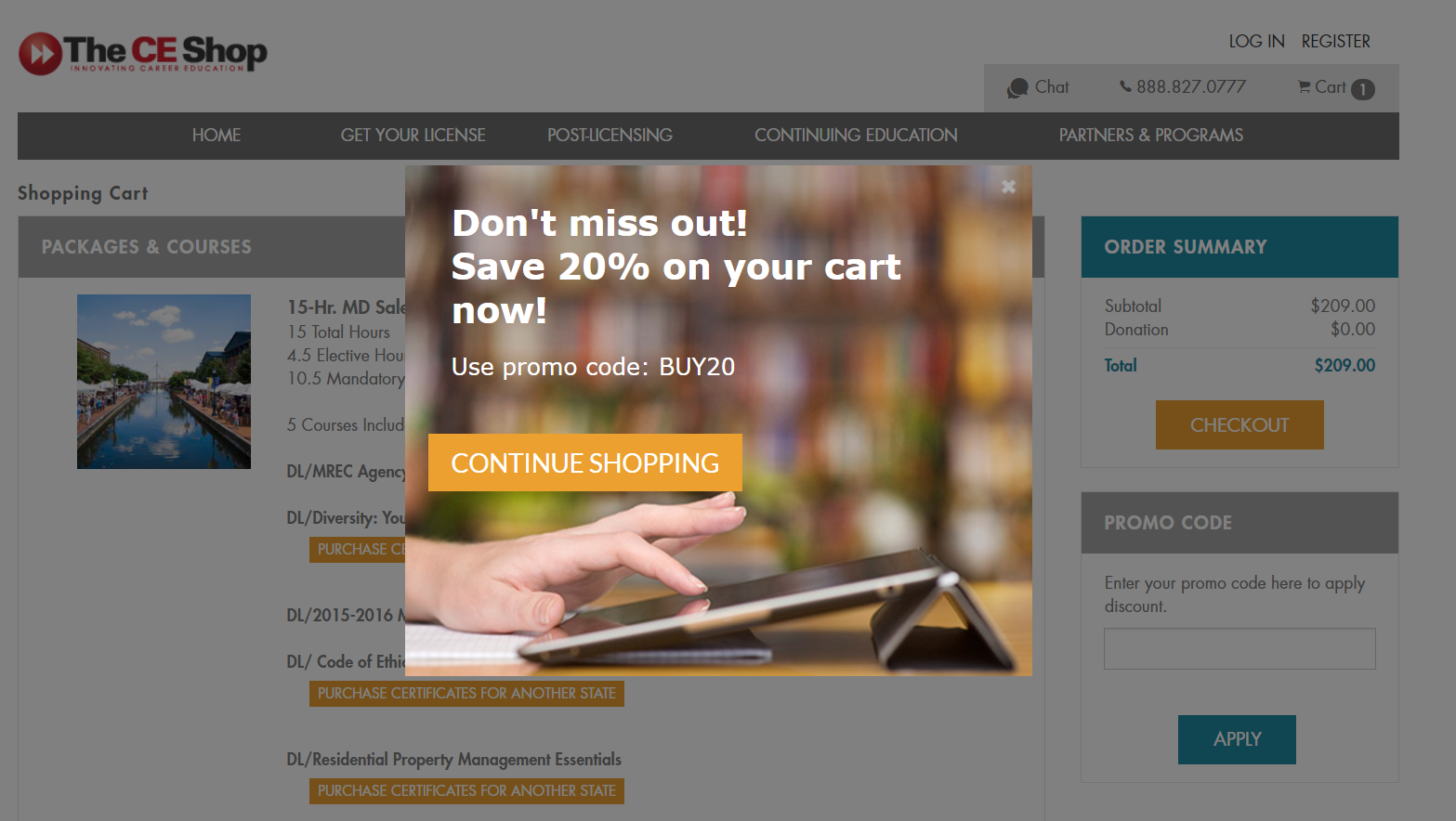 a cart abandonment popup on theceshop.com