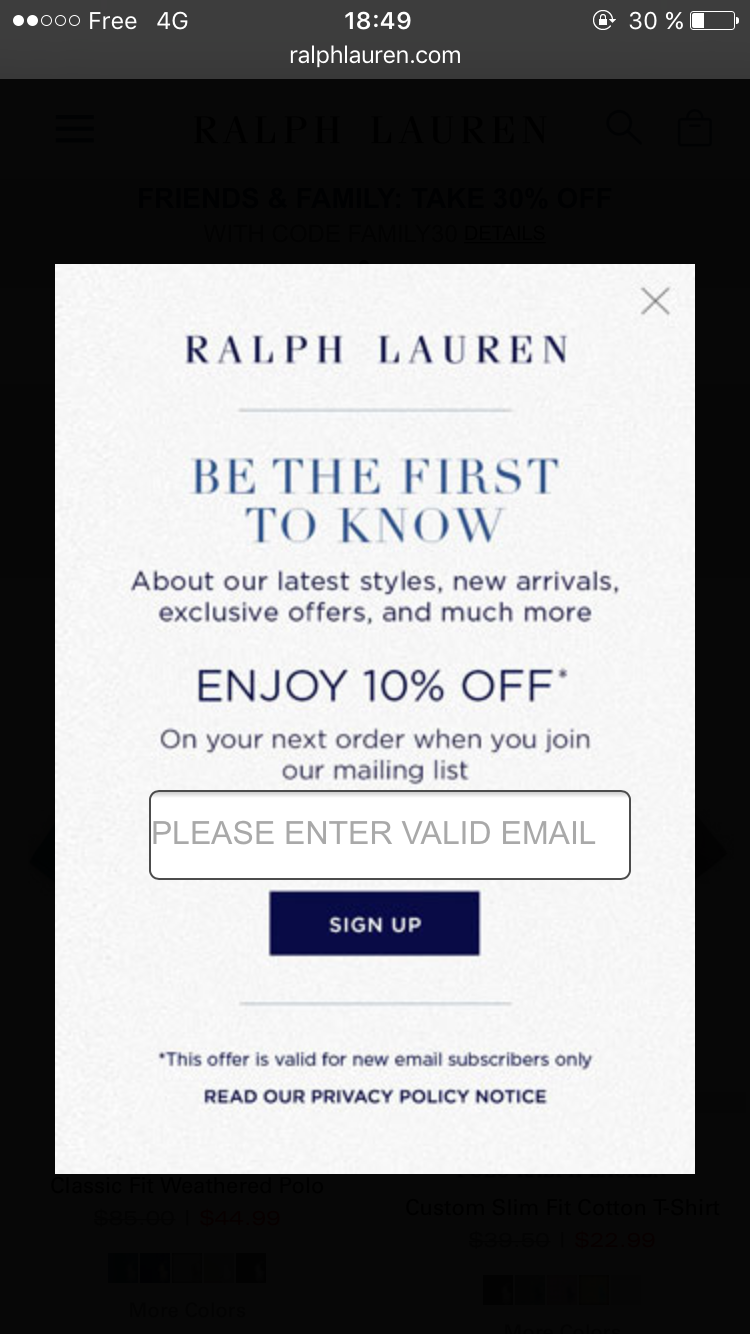 A popup on RalphLauren.com displayed after 2 pages