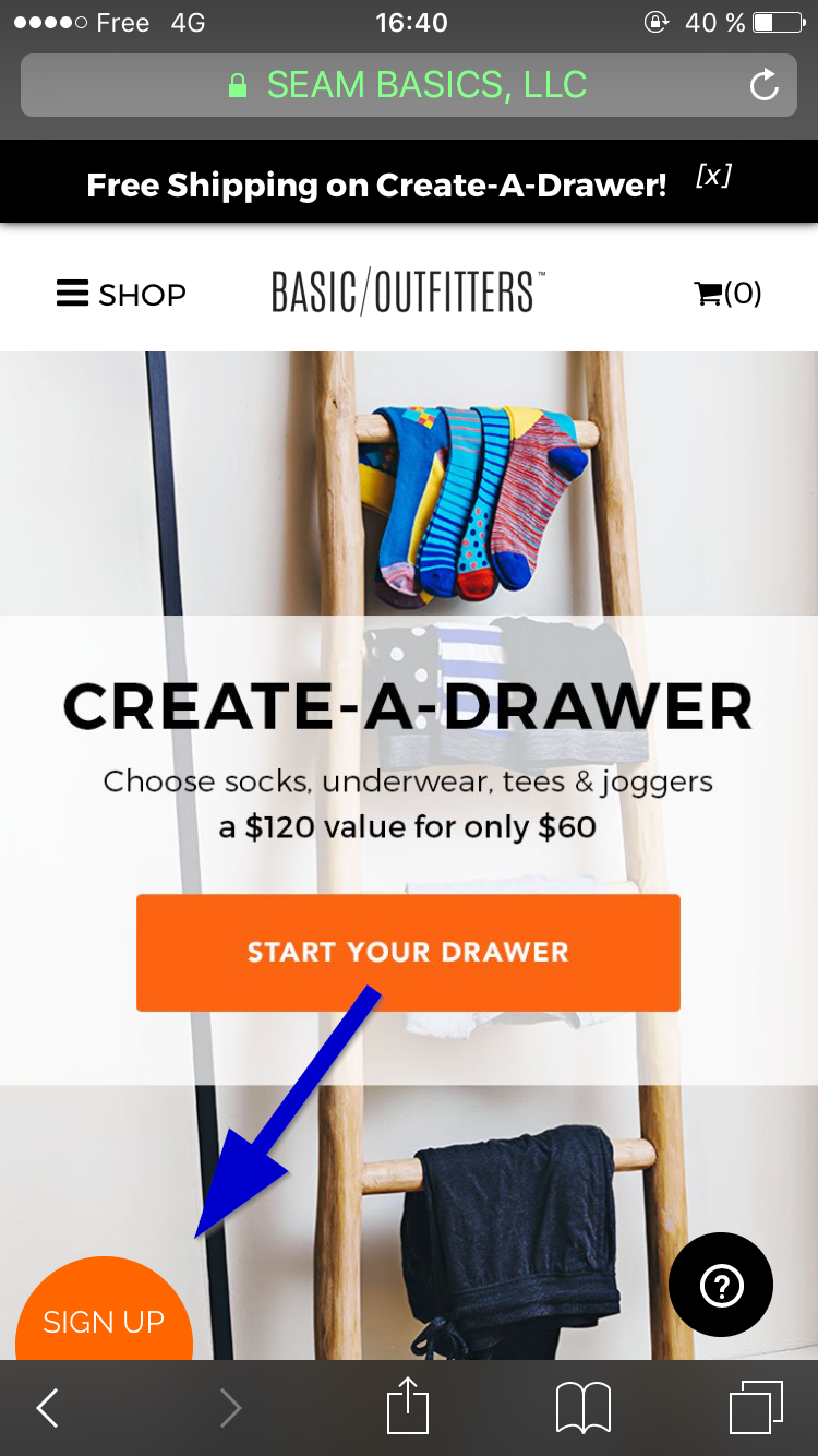 A CTA popup on basicoutfitters.com - CTA