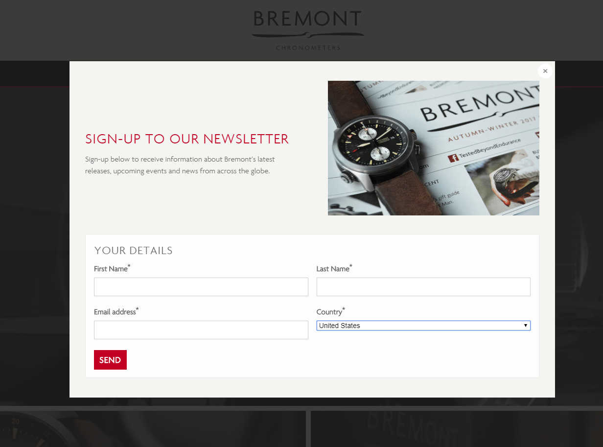 A Shopify popup on Bremont Watches