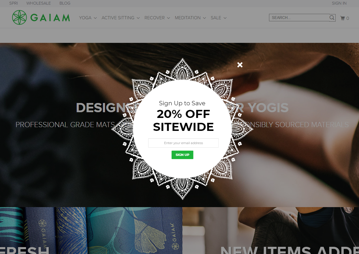 Gaiam's rounded popup
